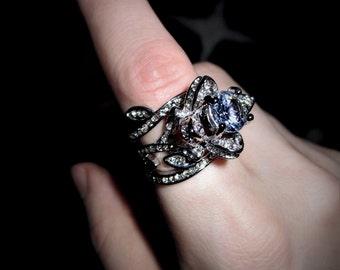 Sacred Rose Ring Of Guinevere - 3 Ring Set - Silver Plate CZ Promise Ring - Love, Beauty, Joy, Fascination, Nature Magic, Feminine Magic
