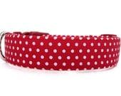 Red White Dog Collar / Polka Dot Dog Collar / Christmas Dog Collar / Red Polka Dot Dog Collar / Christmas Collar / Red Dog Collar