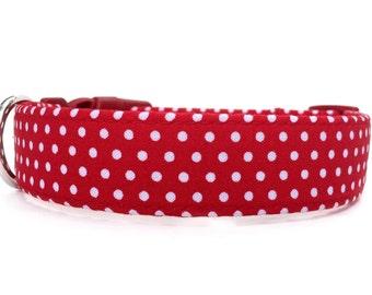 Red White Dog Collar / Polka Dot Dog Collar / Dog Collar / Red Polka Dot Dog Collar / Red Dog Collar