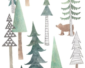 Bear in the Woods print with mat