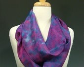 Hand Dyed Silk Infinity Scarf - Pink, Blue, and Purple
