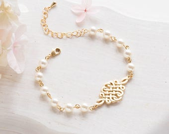 Bridal Bracelet, Gold Celtic Knot Swarovski Cream White Pearls Adjustable Bracelet. Wedding Bracelet, Bridesmaid Bracelet, Bridesmaid Gift