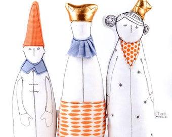 Fabric doll , Handmade decor doll , family portrait , King , Queen & Dwarf dolls , soft sculpture , fabric Handmade doll  , playroom decor