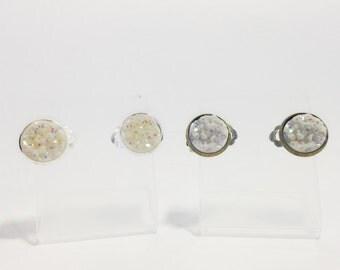 The Druzy Clip On Earrings in Aurora Borealis | Opal Druzy Earrings | Unicorn Druzy Clip Ons | Snow Druzy Earrings | White Druzy Earrings