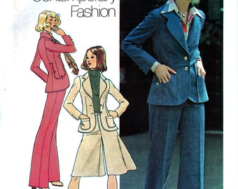 Simplicity 7129 Vintage 70s Sewing Pattern for Misses' Unlined Jacket, Pantskirt and Pants - Uncut - Size 8 - Bust 31.5
