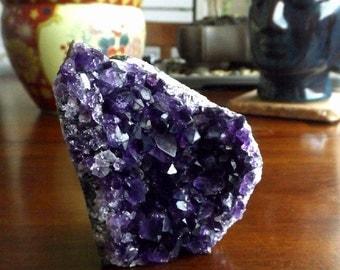Amethyst Cluster - February birthstone, high grade specimen, dark purple crystal, focal crystal, home decor, meditation, healing crystal