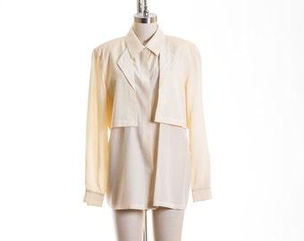 Vtg Silk Sassy Layer Button Down Blouse size Large/ 12