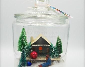 Christmas in a Jar! VINTAGE Snow Scene - Sledding - Japan Putz House - Bottlebrush Trees
