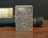 Vintage Italisn Sterling Silver Etched Lighter Holder / Match Safe / Matchbox / Vintage Lighter Case / Etched Flowers and Leaves