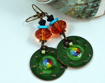 Gypsy Earrings Bohemian Chic Earrings Hippie Enameled Earrings