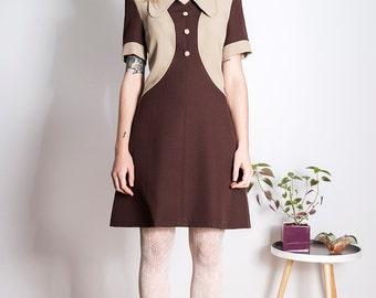 Brown dress 70s beagle mod retro scooter dress 60s custom made