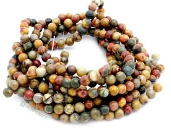 Picasso Jasper Gemstone Beads, 6mm Polished Gemstone, Full Strand, 64 pcs