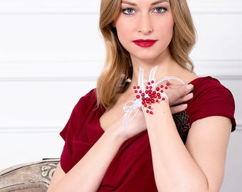 Limited Edition Pearlescent Red Corsage - Red Wrist Corsage