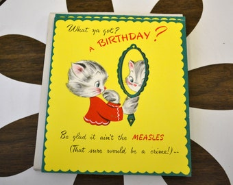 1950s NOS Kitten Birthday Card with Envelope