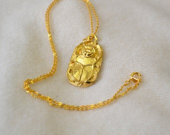 1970s Gold Scarab Pendant and Chain