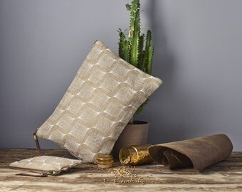 Bridesmaid Clutch Bag, Hand Printed Burlap Eco Friendly Juta Clutch with a Leather Strap