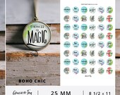 Boho- 25 mm -Digital Collage Sheet- Cabochon- Instant download- hand lettered, magnets, buttons, Gracie and Joy