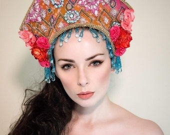 Colourful 'Diamonique' Orange, Pink and Blue Summery Couture Beaded Headdress