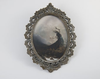 Antique Brass Vintage Filigree Oval Glass Picture Frame Mythological Witch Fantasy Gothic Art