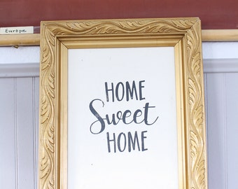 Home Sweet Home Sign in Gold Frame