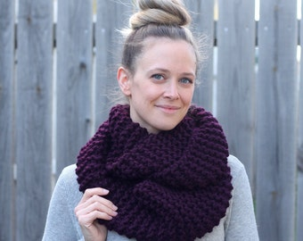 Cozy Infinity Scarf in Eggplant Purple- Other colors available