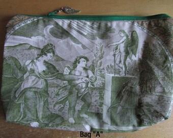Toile Makeup Bag, handheld fabric clutch, toile scene, tan sage, toile print cotton zippered fabric bag, ancient greek scene angels cherubs