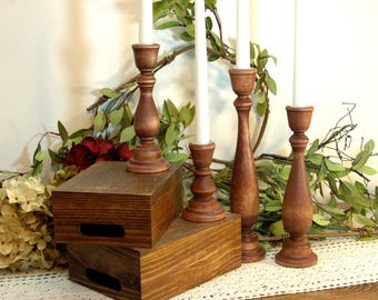 Wood Candlesticks, Taper Candlesticks, Wooden Candle Sticks, Candle Centerpiece, Wedding Candles, Living Room Decor, Stained Candle sticks