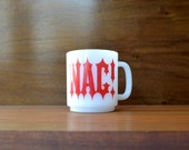 Mid Century Modern Milk Glass NAG MUG White Red Glass Coffee Mug