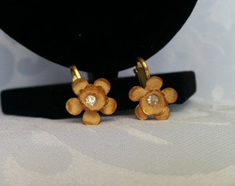 Gold Flower Austrian Crystal Earrings Clip on, Gold Tone Flowers with Austrian Crystals, Marked