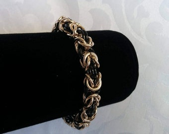 Chainmaille Bracelet Black Rose Gold, Chain Bracelet Black Rose Gold