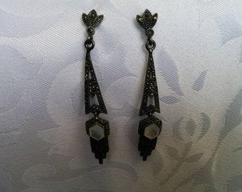 Sterling Silver Marcasite Look Dangle Earrings, Sterling Silver Earrings