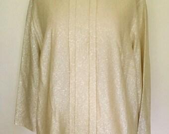Vintage 1960s gold lurex blouse top XL