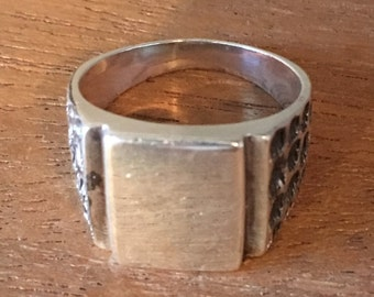 STERLING SILVER Blank Signet Pinky Ring Size 7.25