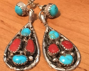 STERLING SILVER Turquoise Coral 10.1 Gram Heavy Large Long Studio Piece Earrings