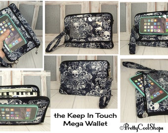 cell phone wristlet wallet • iPhone • Galaxy • smartphone wristlet • Keep in Touch MEGA Wallet • damask • skulls • black and white - (2b)