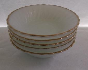 Vintage Milk Glass Bowls, Milk Glass with Gold Edge, Anchor Hocking Fire King Swirl Milk Glass Bowls, 5 Pieces