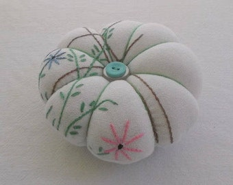Handmade Pin Cushion-Vintage Fabric and Vintage Button Accents-Free Shipping