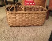 Tote Basket, knitting, cross stitch, punchneedle, rug hooking, primitive decor, farmhouse style