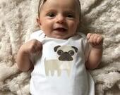 Pug baby clothes, Pug baby bodysuit, baby boy clothes, baby girl clothes, Pug baby gift