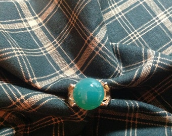 Vintage Green Ring,  Clear green ring, size 6.25 ring, 70's ring