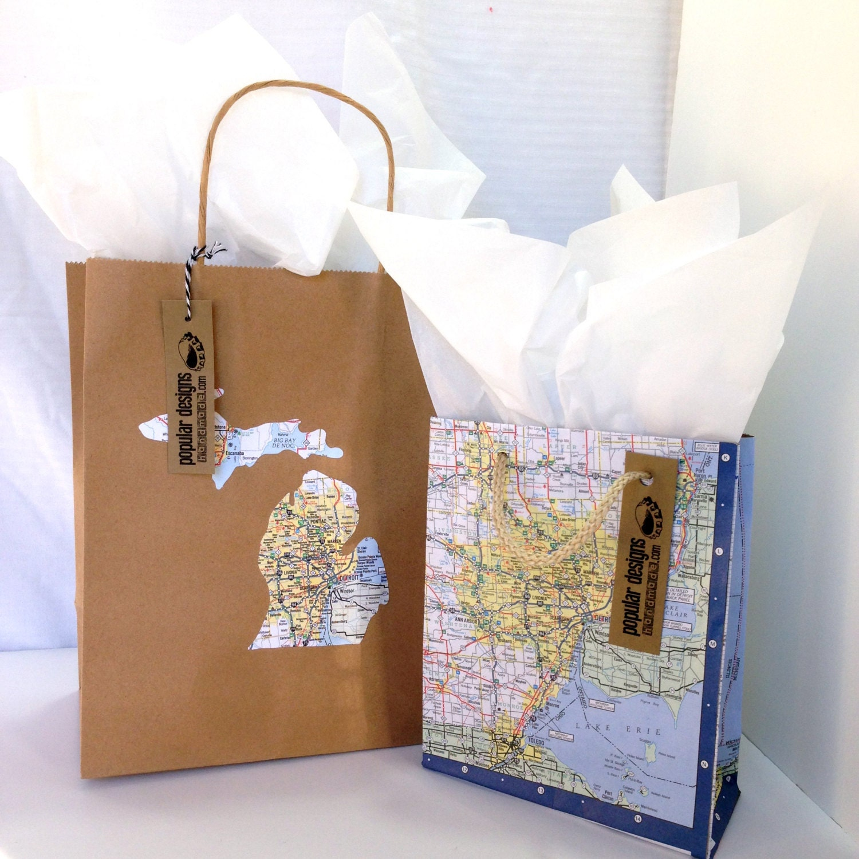 Detroit map gift bag set bags repurposed michigan