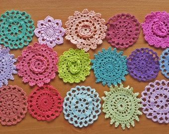 16 Hand Dyed Vintage Doilies, Small Crocheted Doilies, Colorful Craft Doily Set, 2 to 3 inch Doilies, Colorful Doilies, Small Lace Doilies