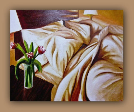 Oil Painting. RESTFUL NIGHT Huge Original Oil Painting - bed, pillow, flowers, vase, sheets, blankets, lights, still life - signed by DanaC