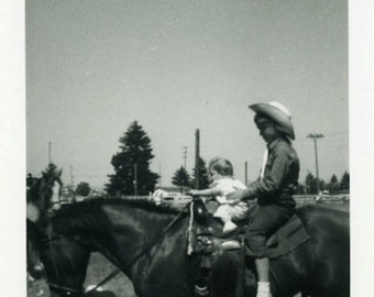 """Vintage Photo """"Learning to be a Cowgirl"""" Snapshot Antique Photo Old Black & White Photograph Found Paper Ephemera Vernacular - 196"""