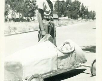 "Vintage Photo ""Idaho's Soap Box Derby Winner"" Snapshot Antique Photo Old Black & White Photograph Found Paper Ephemera Vernacular - 142"