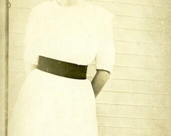"Vintage Real Photo Postcard ""Sweet Anna Bella"" Antique RPPC Photo Black & White Photography Paper Ephemera Collectible - 174"