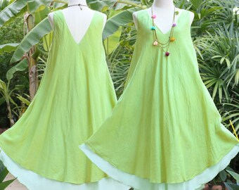 SALE, V Neck Sleeveless Cotton Summer Dress, Casual Loose Fit Maternity Dress in Green, Freesize, XL