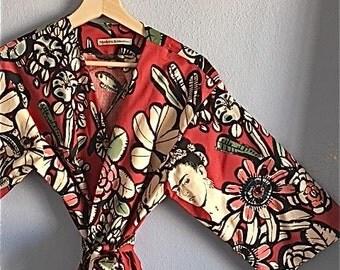 NEW. Frida Kahlo Kimono Robe. Dressing Gown. Kimono. Frida Kahlo. Small thru Plus Size Knee and Mid Calf Length.