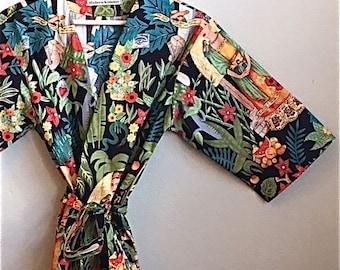 READY to SHIP 2XL Mid Calf Kimono Robe. Dressing Gown. Plus Size Kimono Robe. Plus Size Cover Up.