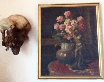 Vintage French Still Life Peony Flowers Statue Pearls Gilh Original Oil Painting Art dated 1943 / English Shop